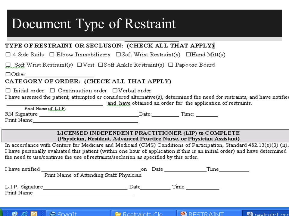Document Type of Restraint