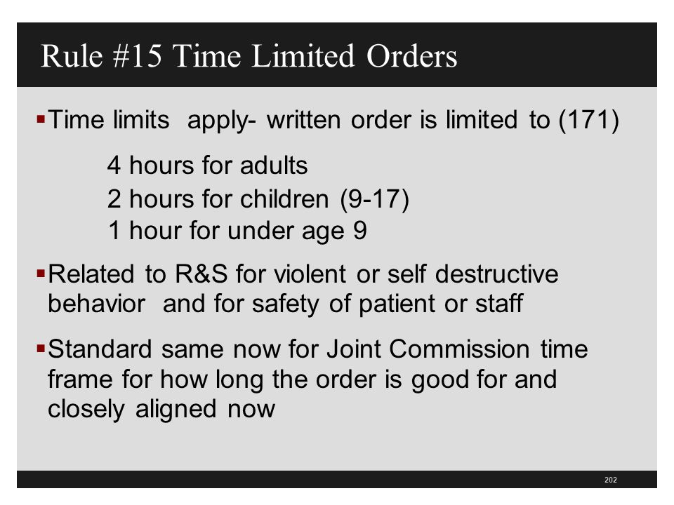 Rule #15 Time Limited Orders