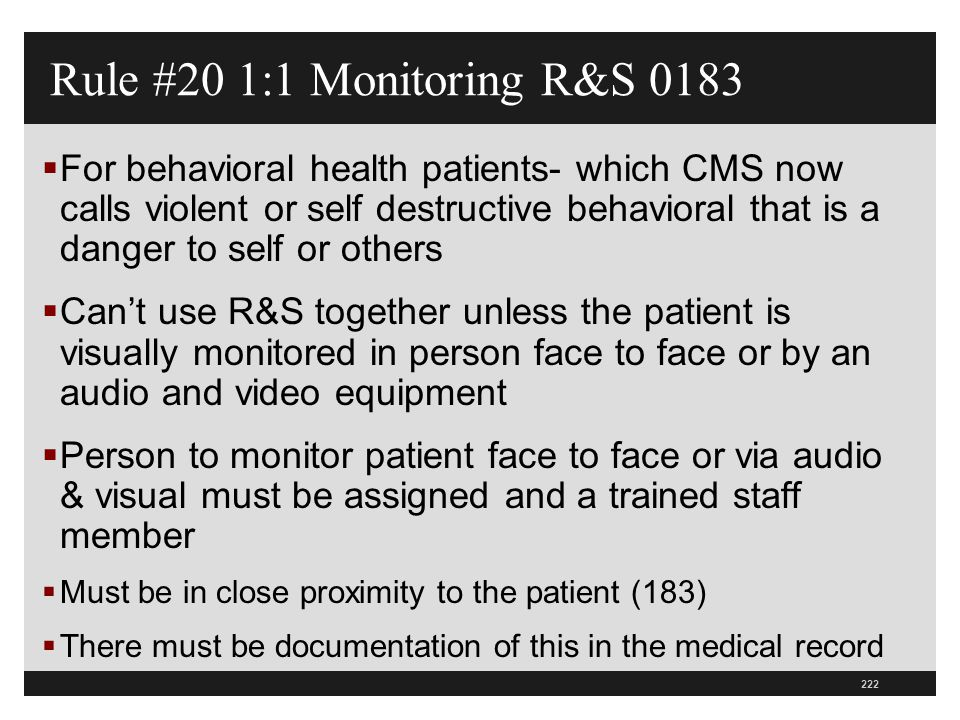Rule #20 1:1 Monitoring R&S 0183