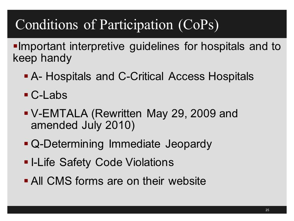 Conditions of Participation (CoPs)