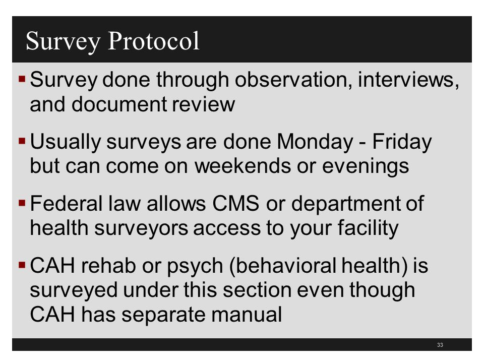Survey Protocol Survey done through observation, interviews, and document review.