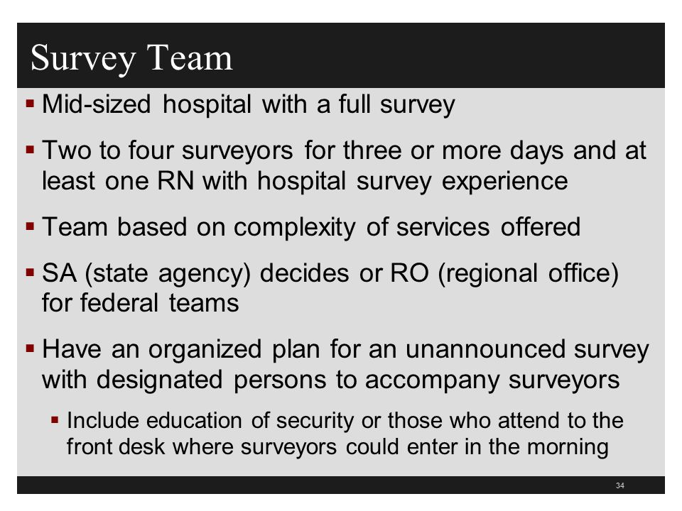 Survey Team Mid-sized hospital with a full survey