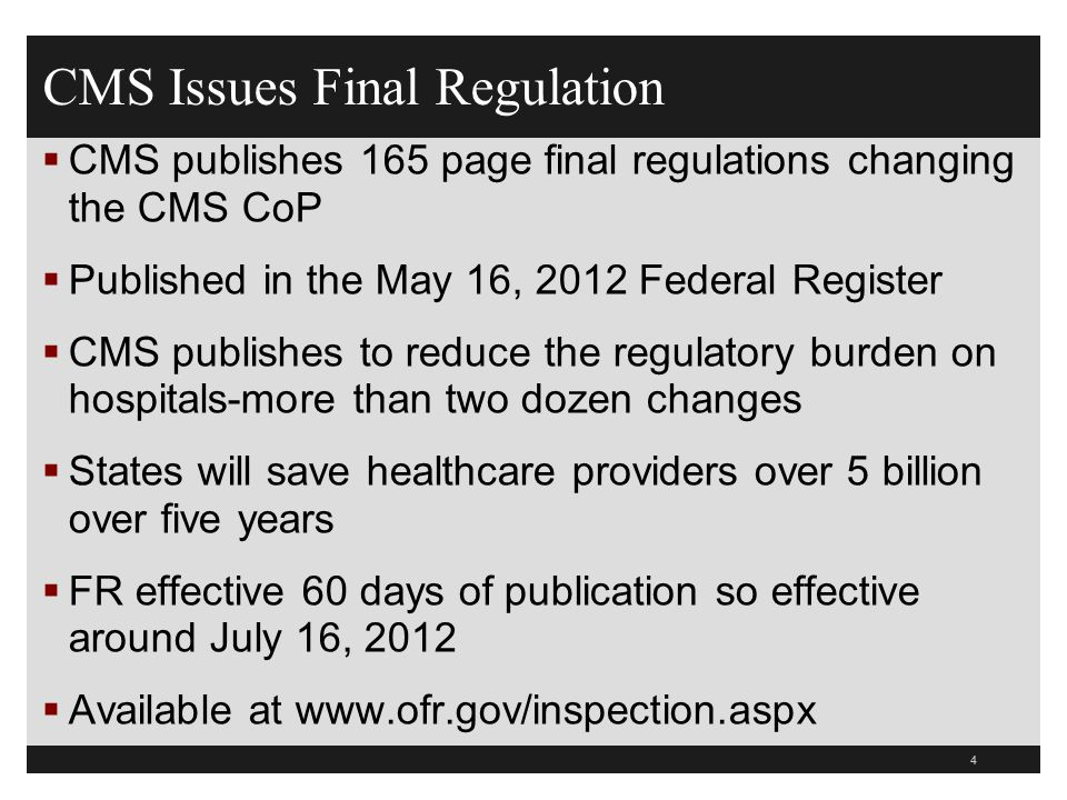CMS Issues Final Regulation