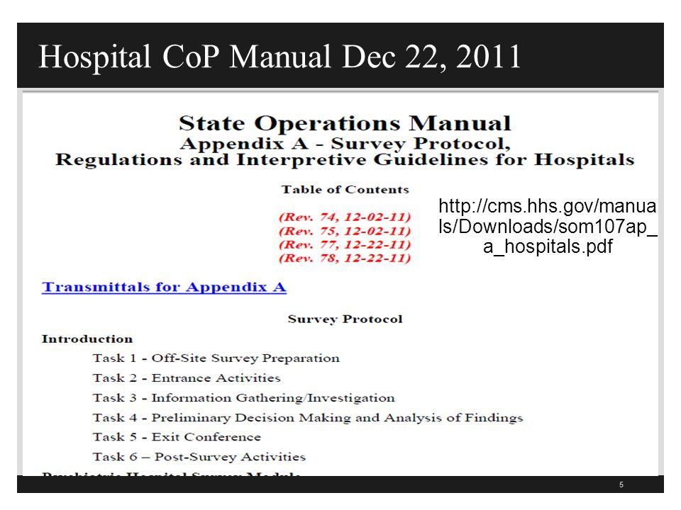 Hospital CoP Manual Dec 22, 2011
