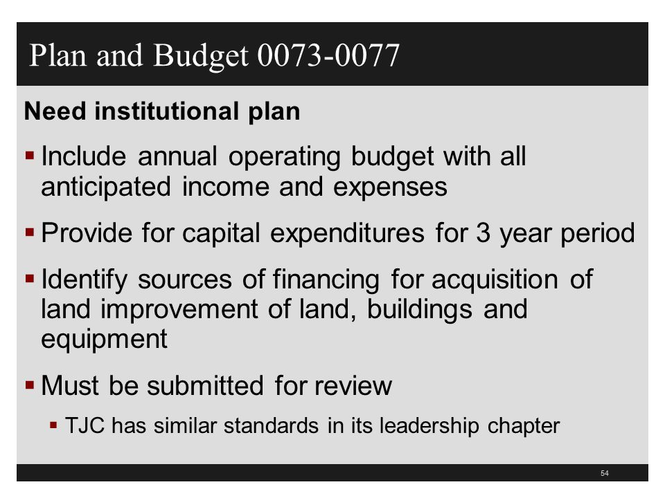 Plan and Budget 0073-0077 Need institutional plan. Include annual operating budget with all anticipated income and expenses.