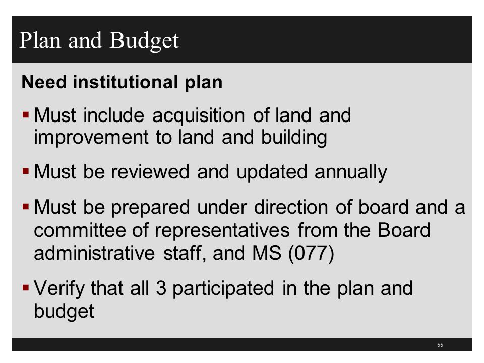 Plan and Budget Need institutional plan. Must include acquisition of land and improvement to land and building.