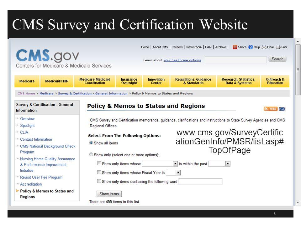 CMS Survey and Certification Website