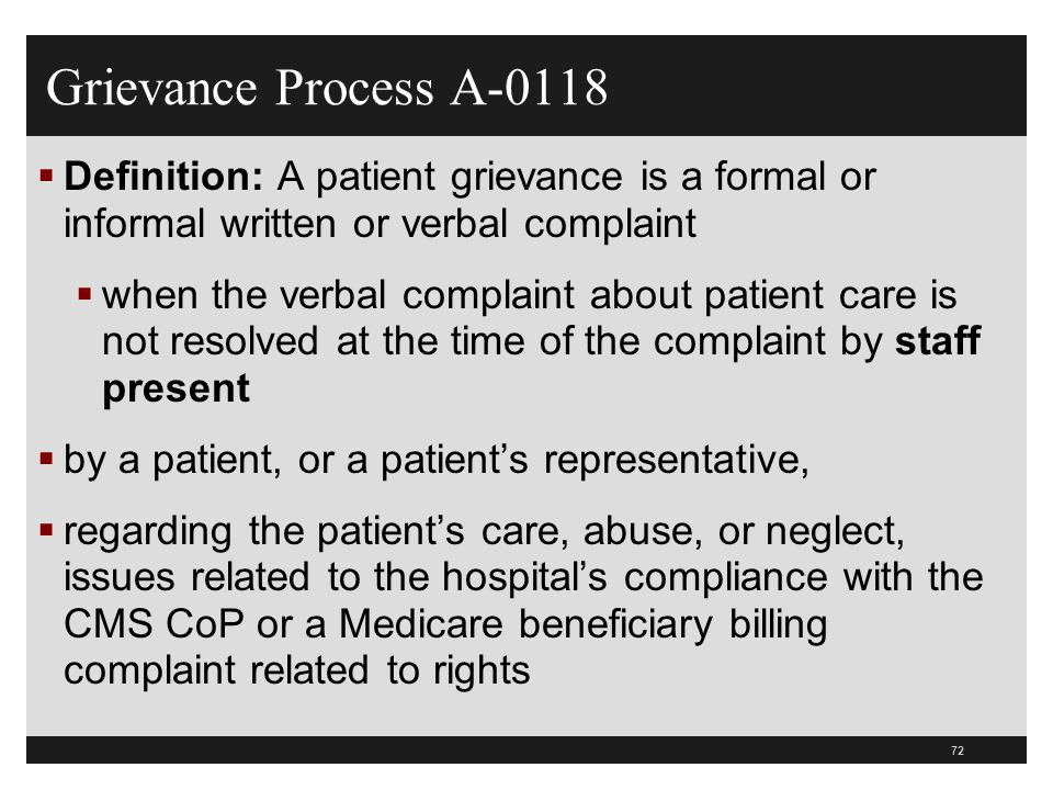 Grievance Process A-0118 Definition: A patient grievance is a formal or informal written or verbal complaint.