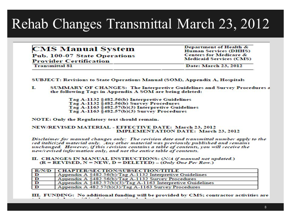 Rehab Changes Transmittal March 23, 2012