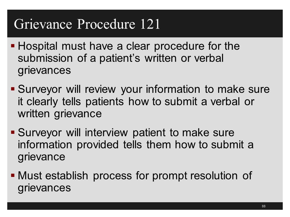 Grievance Procedure 121 Hospital must have a clear procedure for the submission of a patient's written or verbal grievances.