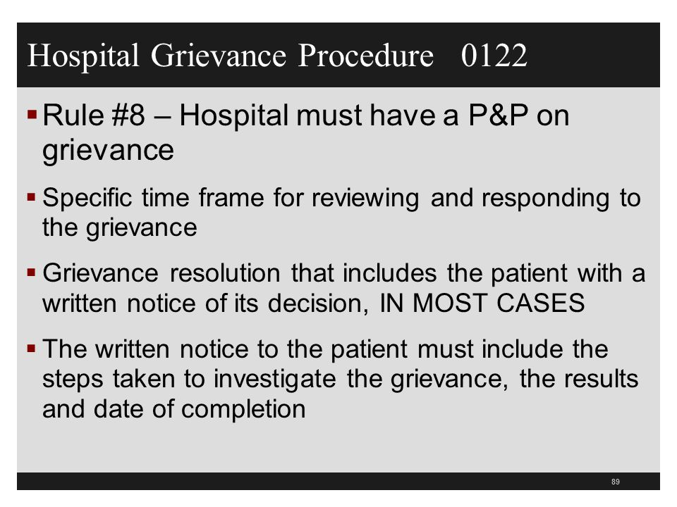 Hospital Grievance Procedure 0122