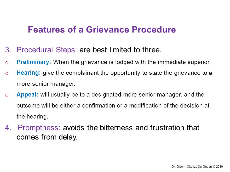 Features of a Grievance Procedure