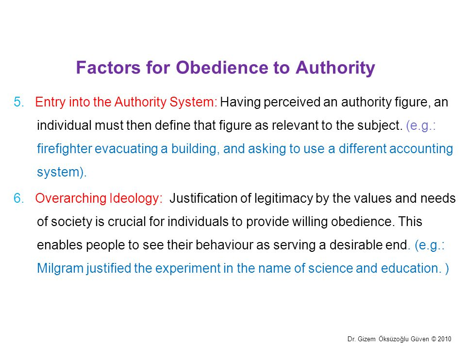 Factors for Obedience to Authority