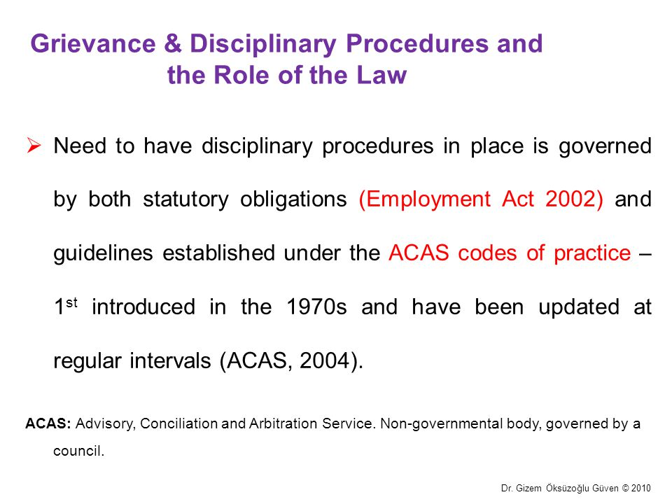 Grievance & Disciplinary Procedures and the Role of the Law