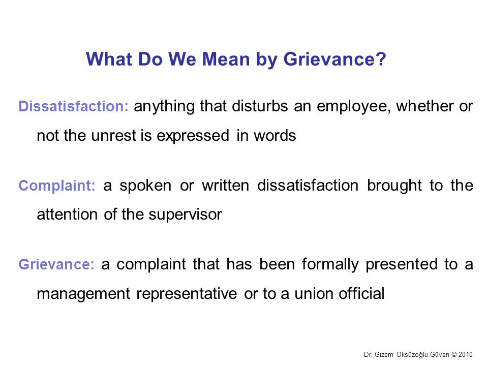 What Do We Mean by Grievance