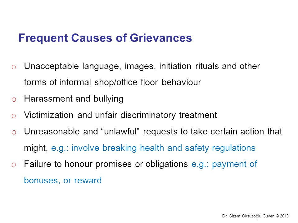 Frequent Causes of Grievances