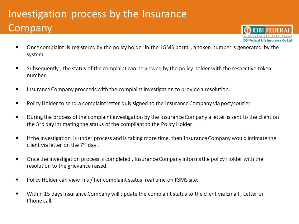 Investigation process by the Insurance Company