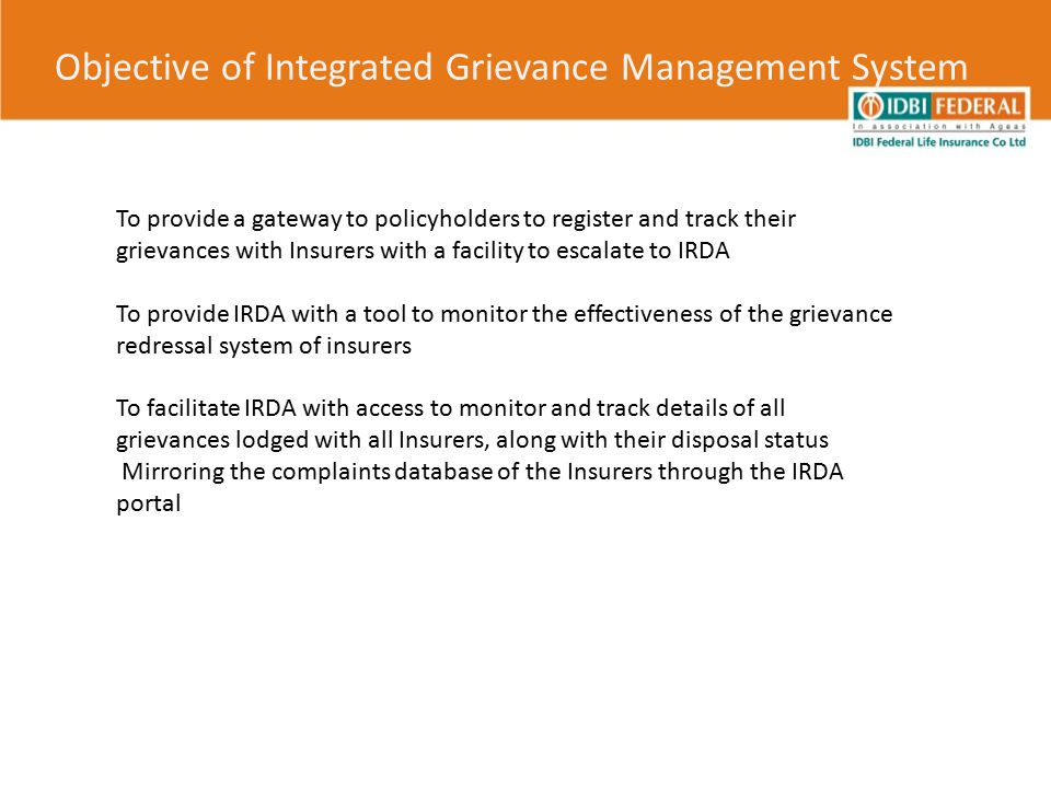 Objective of Integrated Grievance Management System