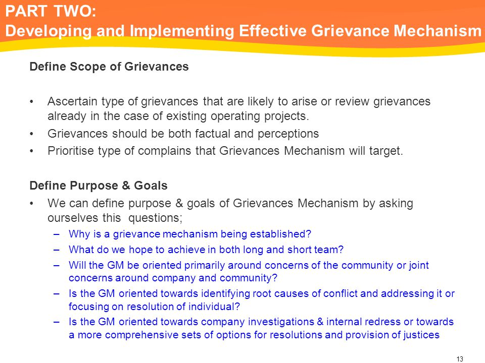 PART TWO: Developing and Implementing Effective Grievance Mechanism