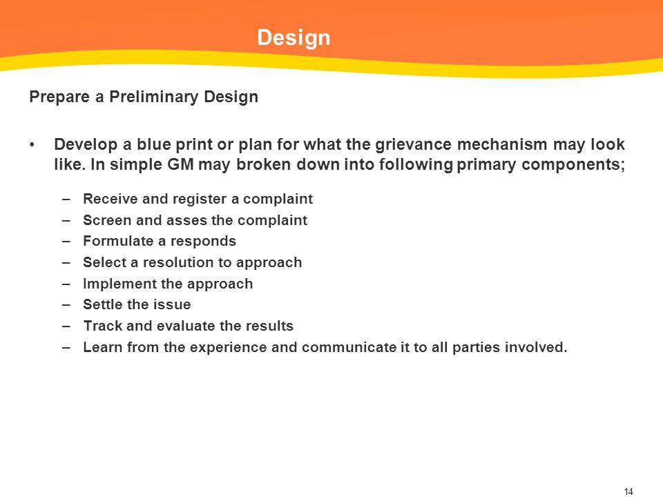 Design Prepare a Preliminary Design
