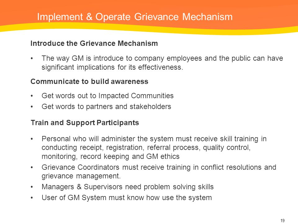 Implement & Operate Grievance Mechanism