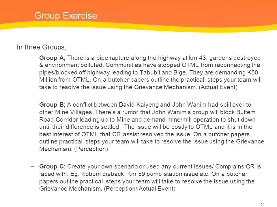 Group Exercise In three Groups;