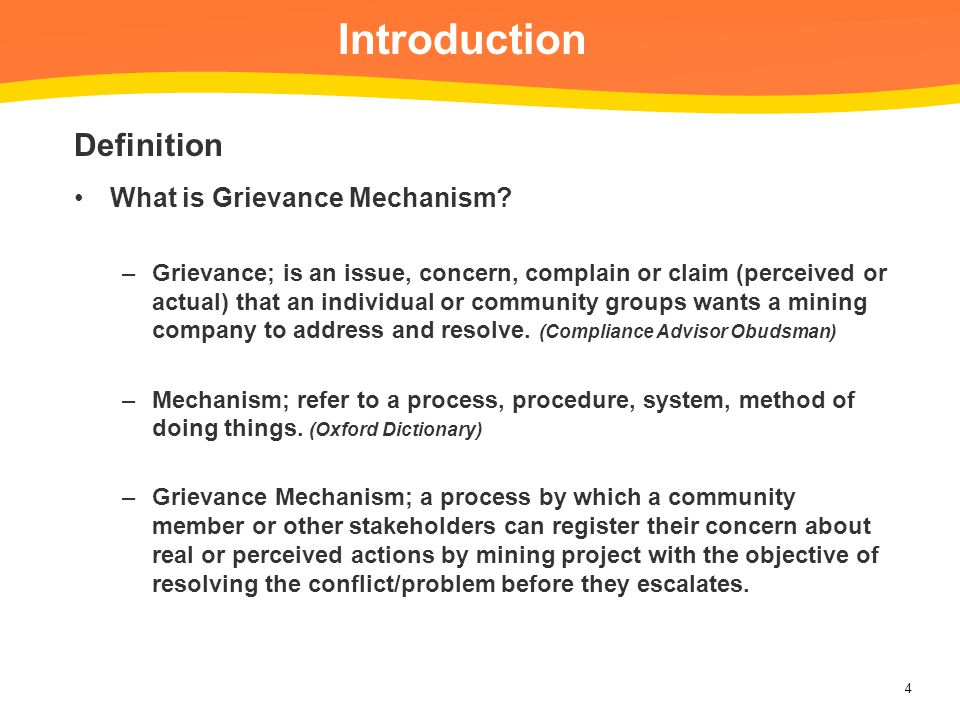 Introduction Definition What is Grievance Mechanism