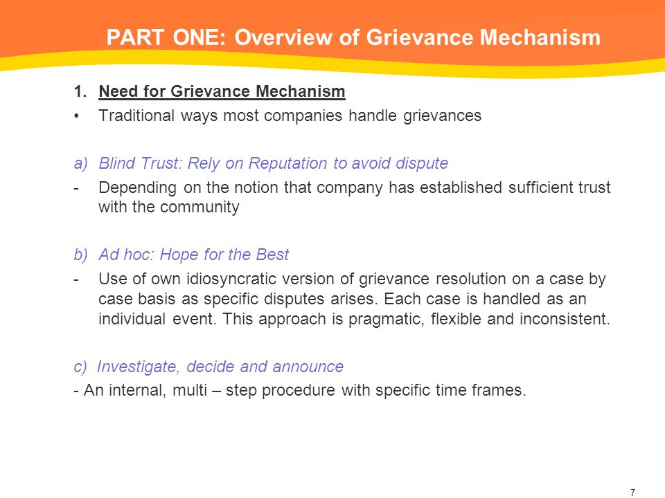 PART ONE: Overview of Grievance Mechanism