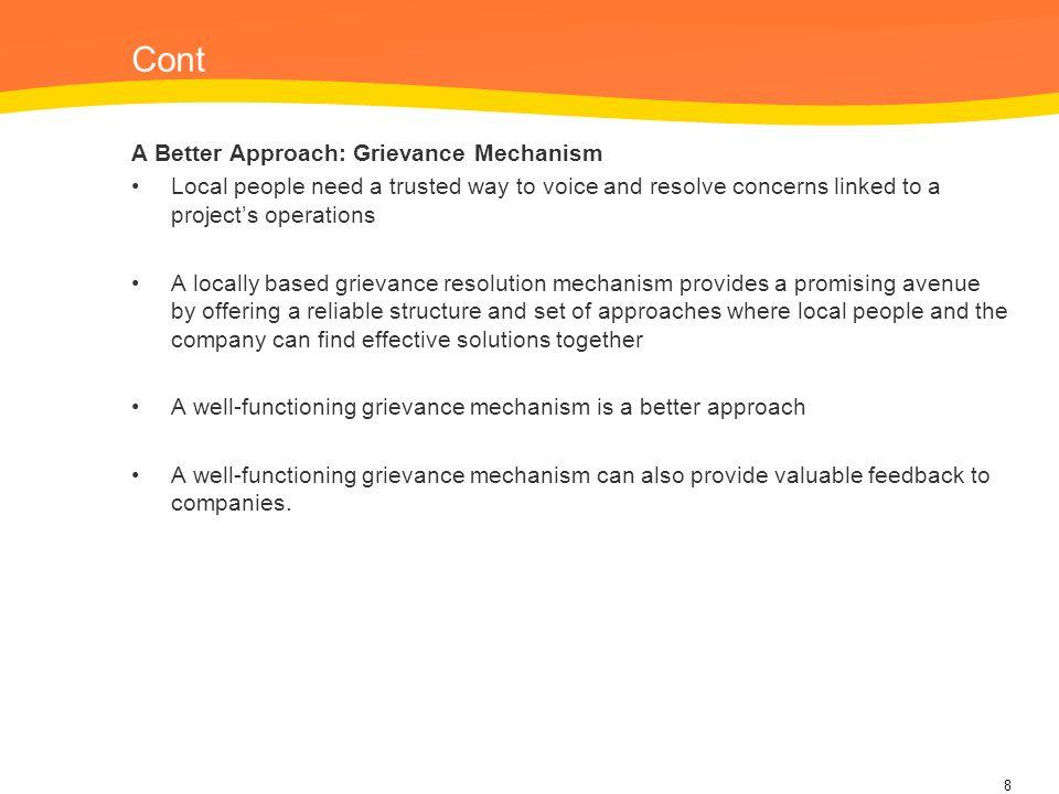 Cont A Better Approach: Grievance Mechanism