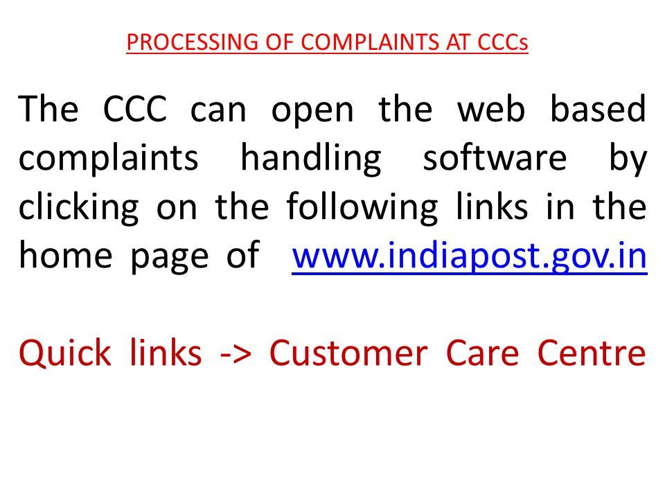 PROCESSING OF COMPLAINTS AT CCCs