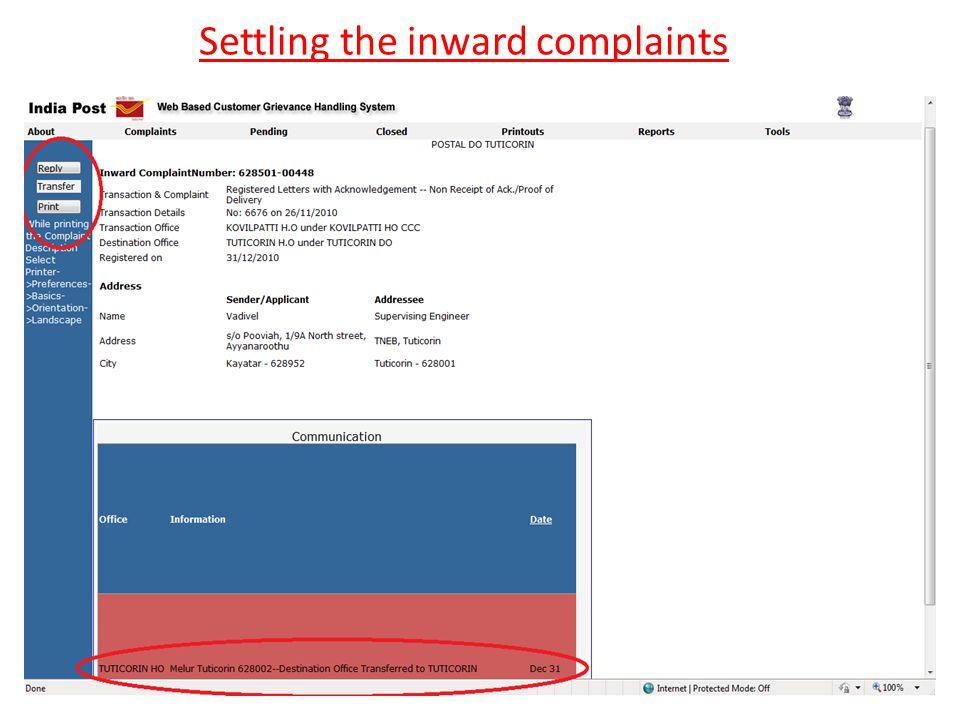 Settling the inward complaints
