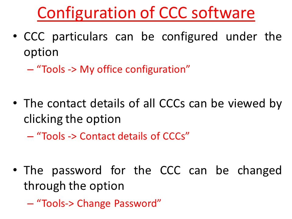 Configuration of CCC software