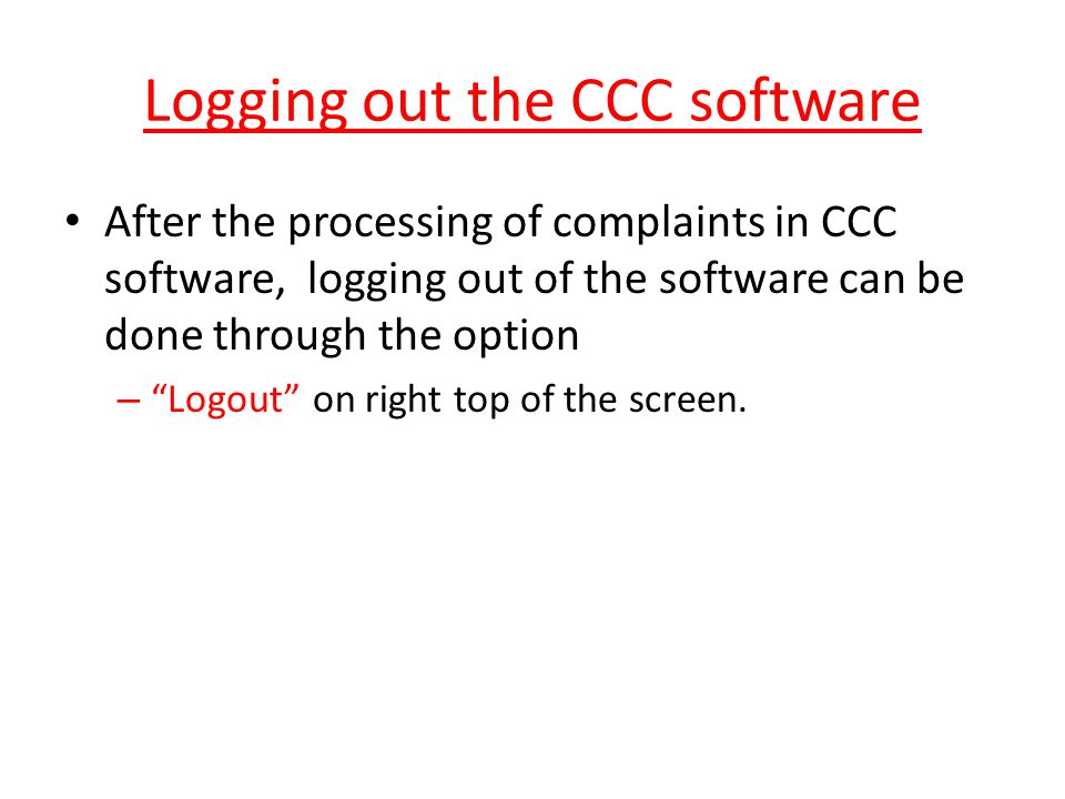 Logging out the CCC software