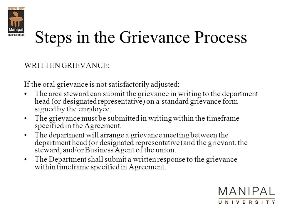 Steps in the Grievance Process