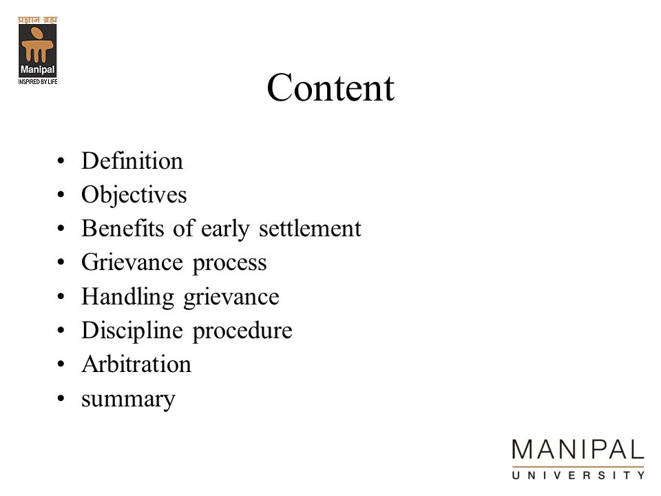 Content Definition Objectives Benefits of early settlement