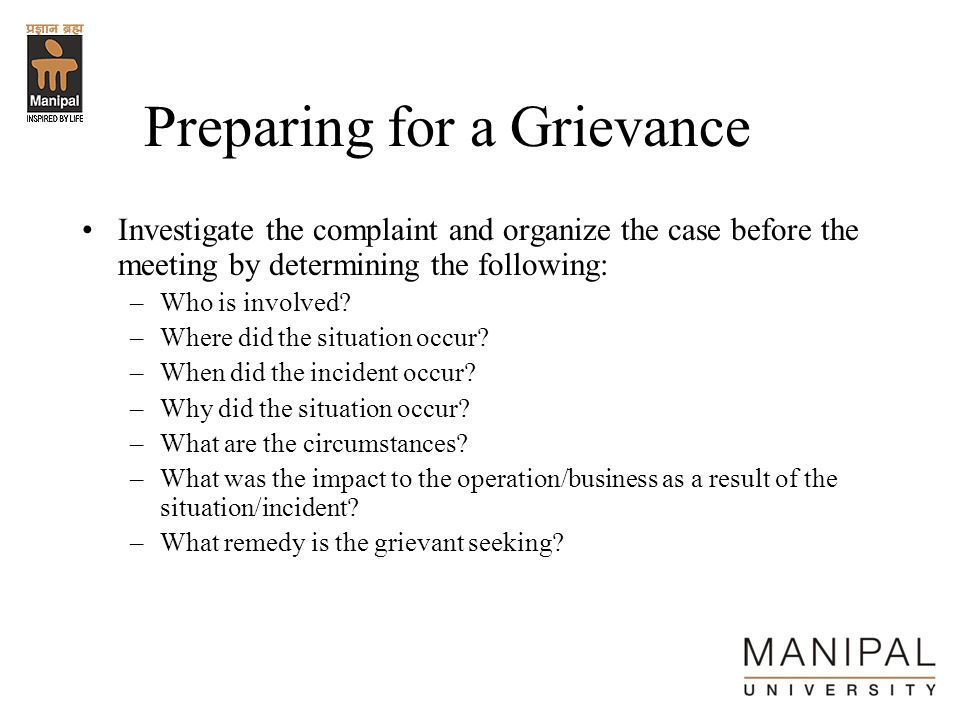 Preparing for a Grievance
