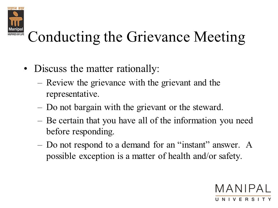 Conducting the Grievance Meeting