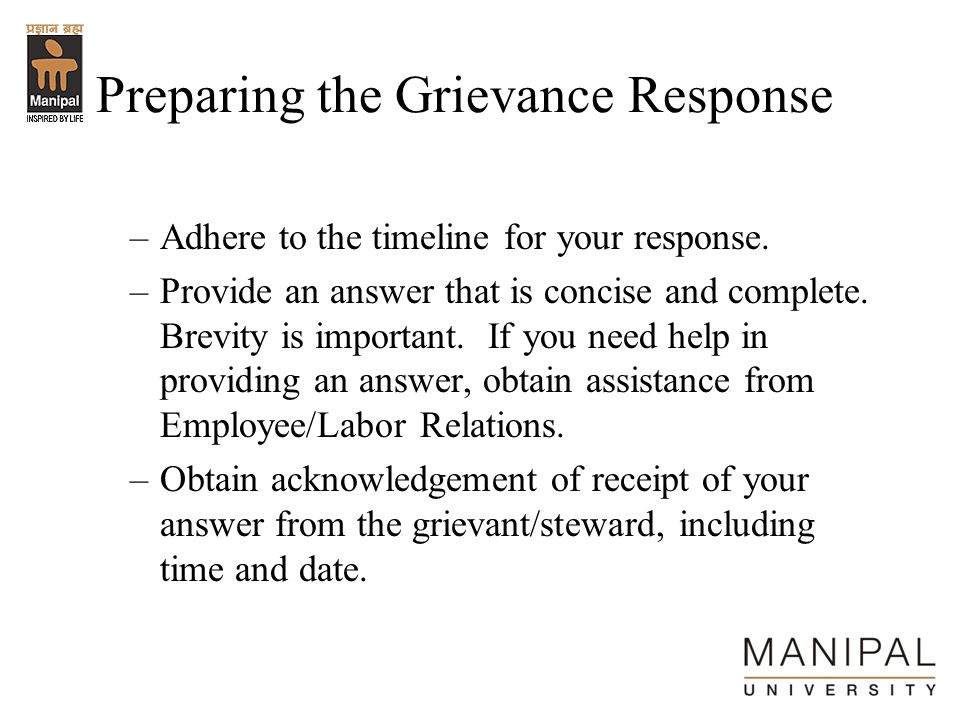 Preparing the Grievance Response