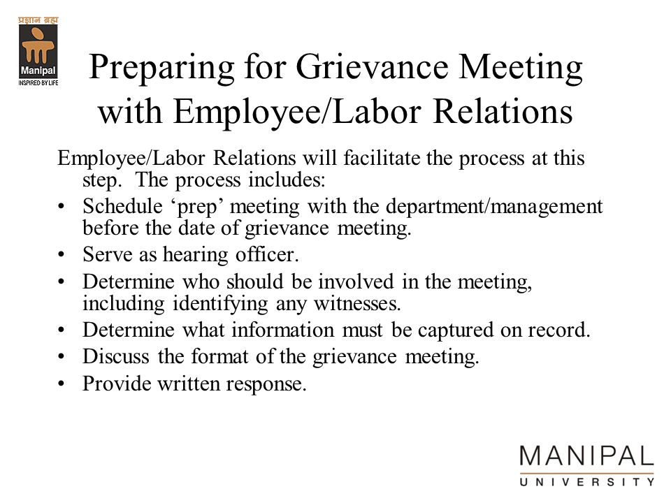 Preparing for Grievance Meeting with Employee/Labor Relations