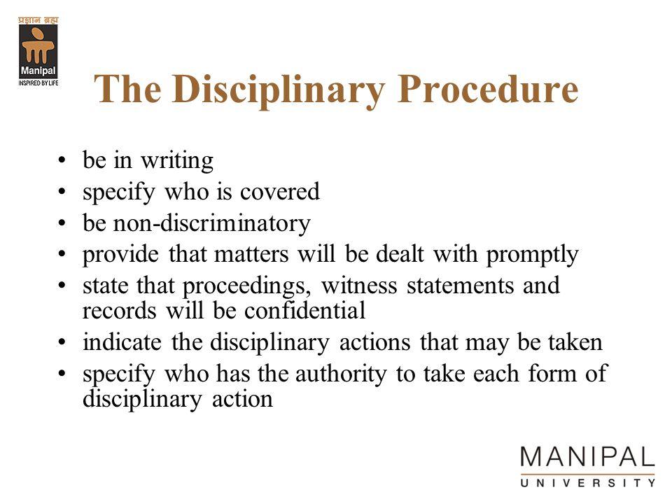 The Disciplinary Procedure