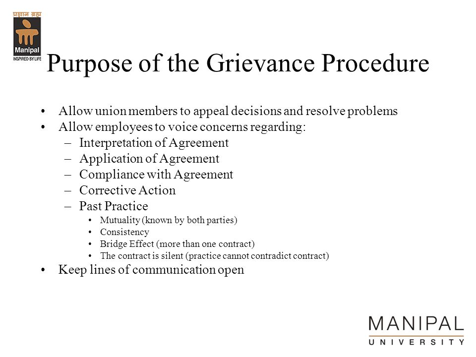 Purpose of the Grievance Procedure