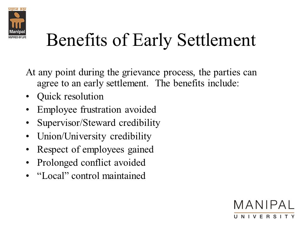 Benefits of Early Settlement