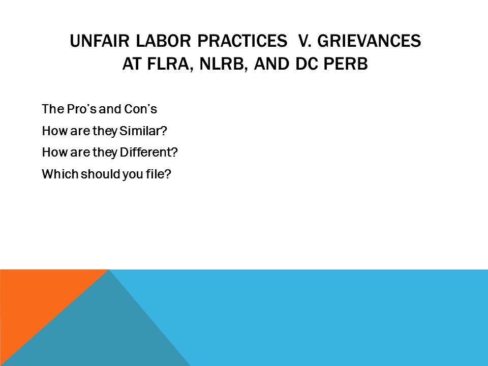 Unfair labor practices v. Grievances at FLRA, NLRB, and DC Perb