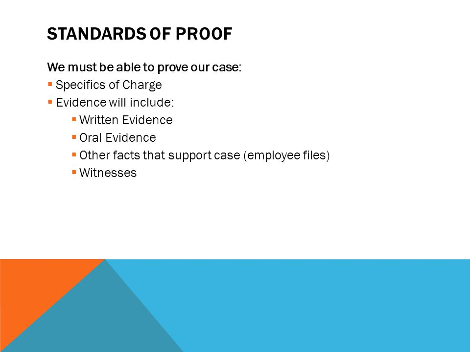 Standards of Proof We must be able to prove our case: