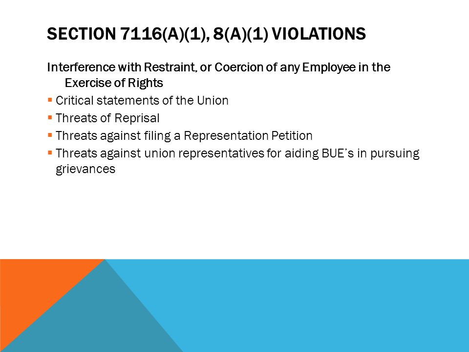 Section 7116(a)(1), 8(a)(1) violations