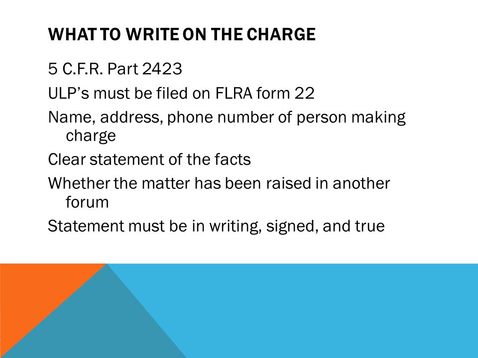 What to Write on the Charge