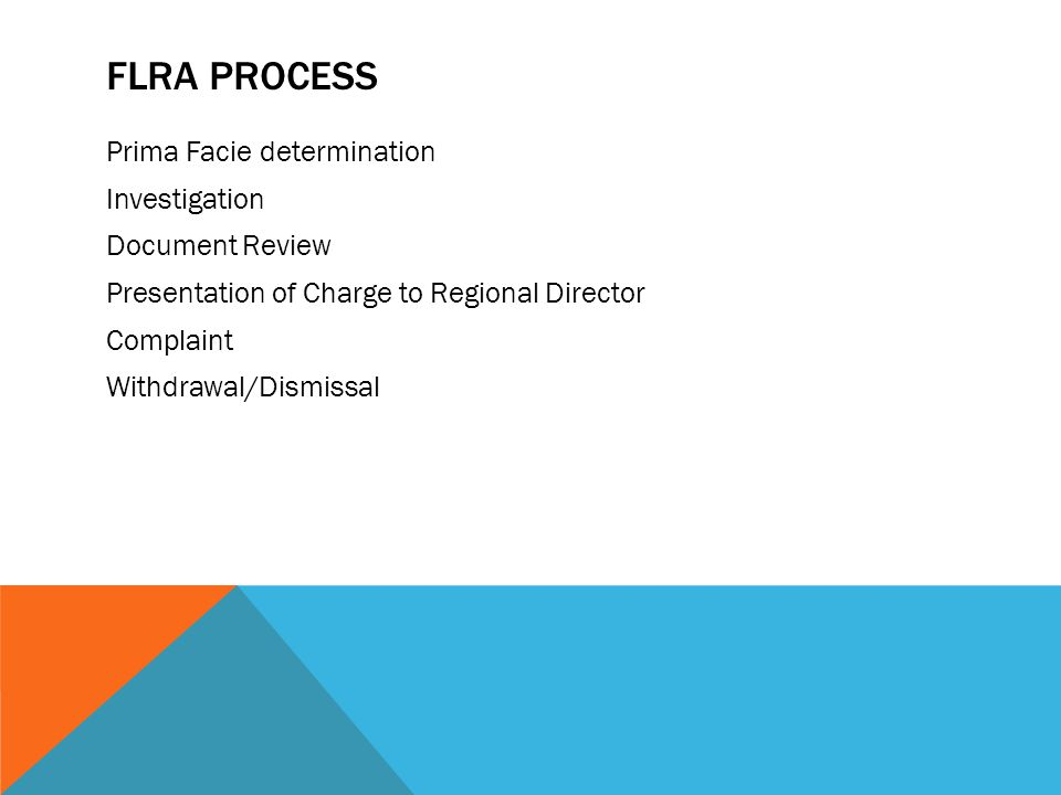 FLRA Process Prima Facie determination Investigation Document Review Presentation of Charge to Regional Director Complaint Withdrawal/Dismissal
