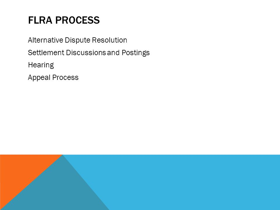 FLRA Process Alternative Dispute Resolution Settlement Discussions and Postings Hearing Appeal Process