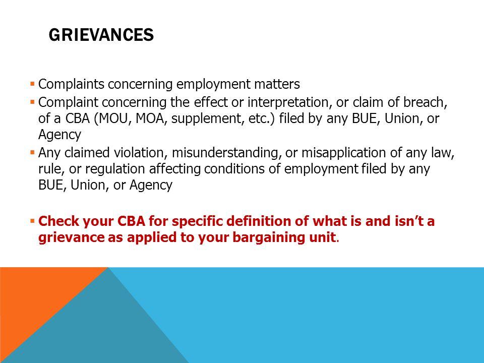 Grievances Complaints concerning employment matters
