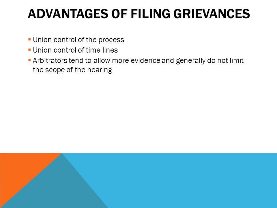 Advantages of Filing Grievances